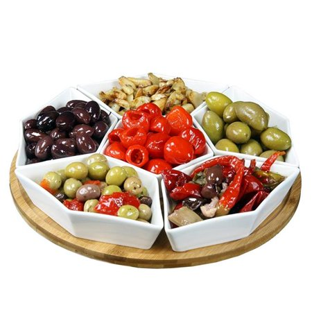 12 in. Condiment Server Set with A Bamboo Lazy Suzan Serving Tray - 7 Piece](Server Tray)