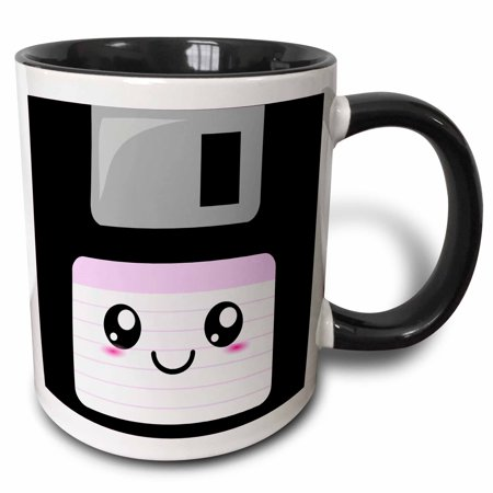 3dRose Kawaii Cute Happy Floppy Disk - Retro computer Nerd - Japanese Anime Smiley cartoon with pink label, Two Tone Black Mug, 11oz