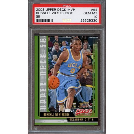 2008 09 Upper Deck Mvp Se  64 Russell Westbrook Okc  Thunder Rookie Card Psa 10