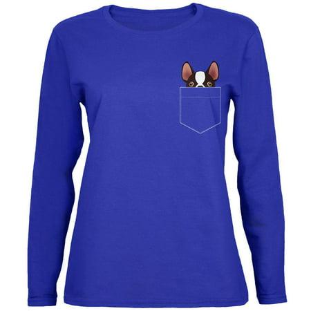 Boston Terrier Pocket Pet Womens Long Sleeve T Shirt ()