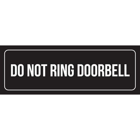 Black Background With White Font Do Not Ring Doorbell Outdoor & Indoor Metal Wall Sign, 3x9 - Doorbell Plaque