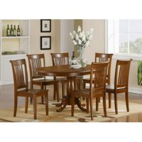 East West Furniture PORT5-SBR-C 5 Piece Dining Table Set For 4-Oval Dining Table With Leaf and 4 Dining Chairs