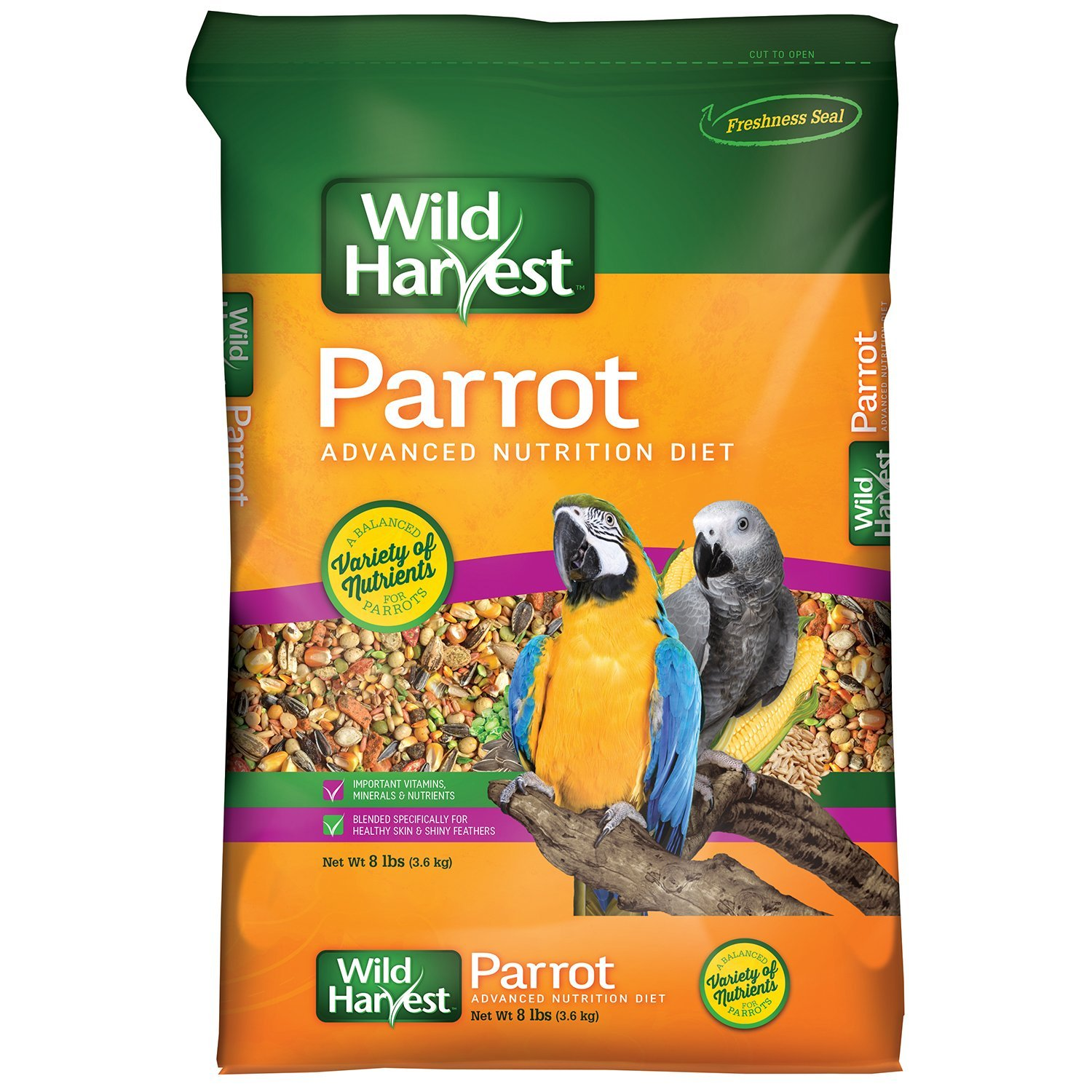 Wild Harvest Parrot Advanced Nurtrition Diet Dry Bird Food, 8 lbs