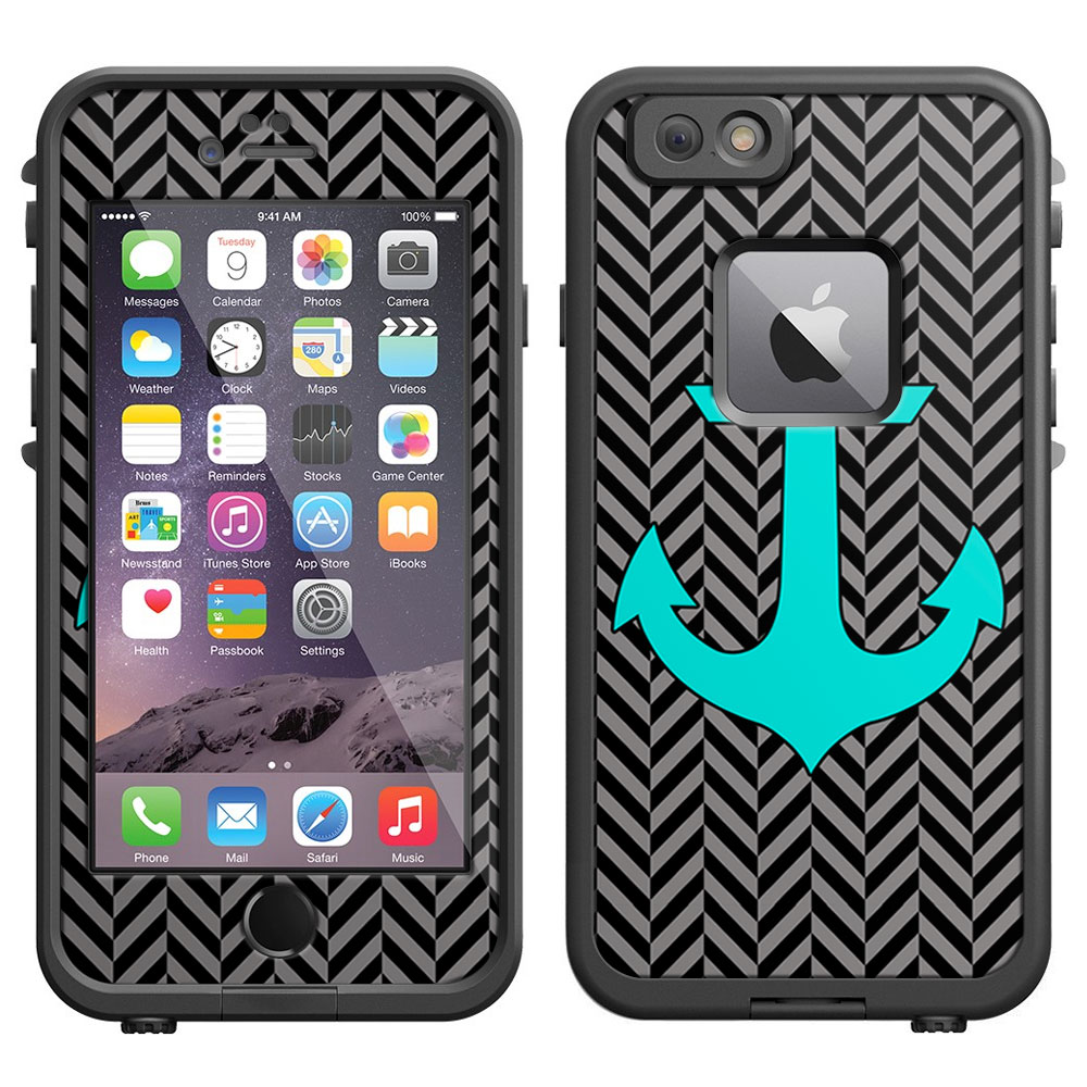 SKIN DECAL FOR LifeProof iPhone 6 Case - Anchor Chevron Mini Silver and Black DECAL, NOT A CASE