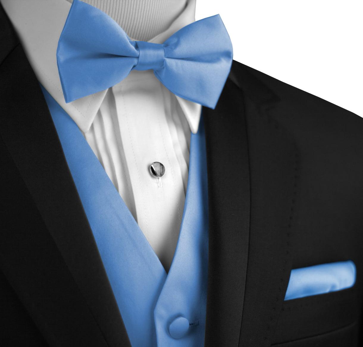Mens Tuxedo Vest Italian Design Bow-Tie /& Hankie Set in Cornflower
