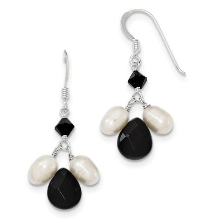 - Sterling Silver Onyx FW Cultured White Pearl Black Crystal Earrings 9mm x 39mm