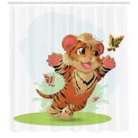Cartoon Decor Shower Curtain Set, Little Cub Playing With Butterflies In The Meadow Joyful Lively Baby Tiger Cat, Bathroom Accessories, 69W X 70L Inches, By Ambesonne