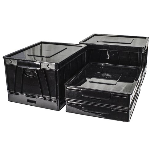 STOREX Collapsible Crate with Lid (Set of 4)