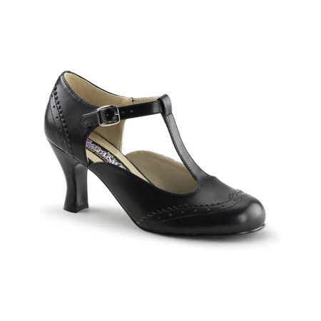 womens retro inspired matte black t-strap pumps 3 inch kitten heel shoes