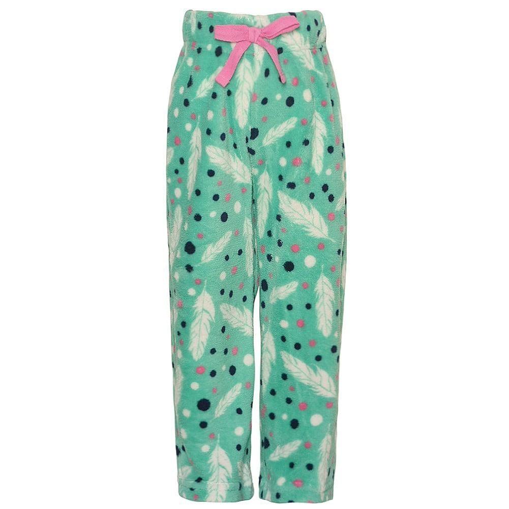 bc3685a1b6 Little Girls Aqua White Feather Print Adjustable Waist Pajama Pants -  Walmart.com