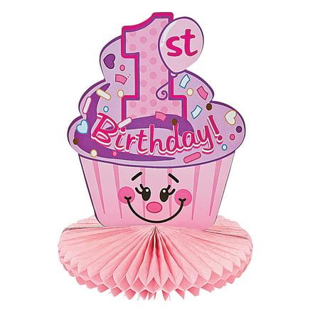 Fun Express - 1st B-Day Cupcake Centerpiece for Birthday - Party Decor - General Decor - Centerpieces - Birthday - 1 Piece](Cupcake Centerpieces)