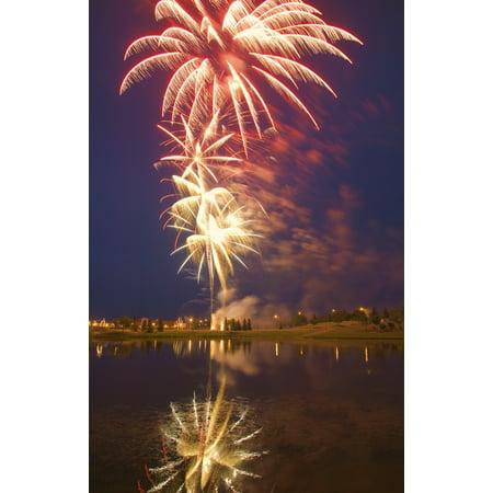 Carson Ganci / Design Pics Stretched Canvas Art - Fireworks Display On Canada Day Sherwood Park Alberta Canada - Medium 11 x 17 inch Wall Art Decor Size.