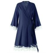 Lace Maternity Sleeping Dress Breathable Long Sleeve Comfy Robe