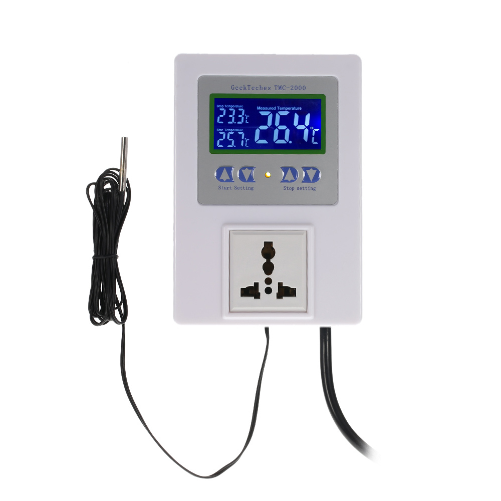 AC110-240V 10A LCD Digital Intelligent Pre-wired Temperature Controller Outlet with Sensor Thermostat Heating Cooling Control Switch