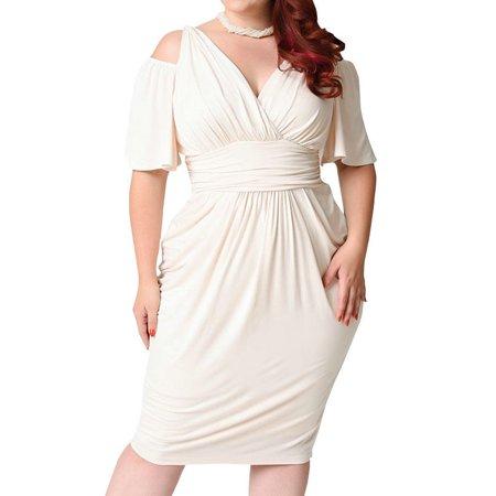 AKFashion Women\'s Plus Size Cold Shoulder Short Sleeve Deep V Neck Bodycon  Knee Length Dress
