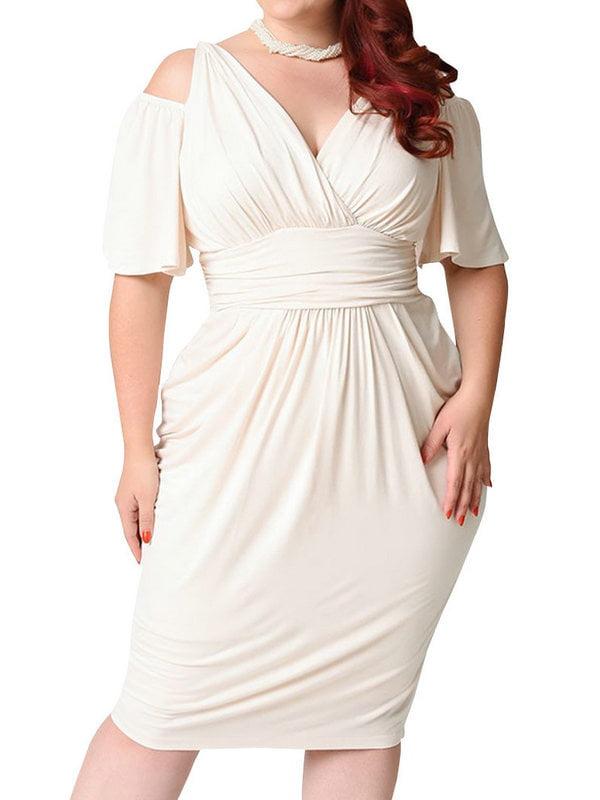 AKFashion Women's Plus Size Cold Shoulder Short Sleeve Deep V Neck Bodycon Knee Length Dress