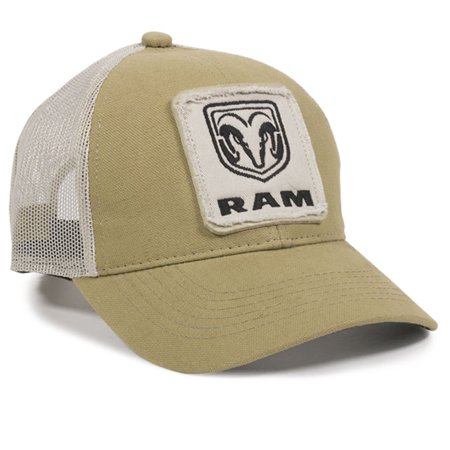 Outdoor Cap Tan Hat with Mesh And Snapback, Features Dodge Ram Patch on Front