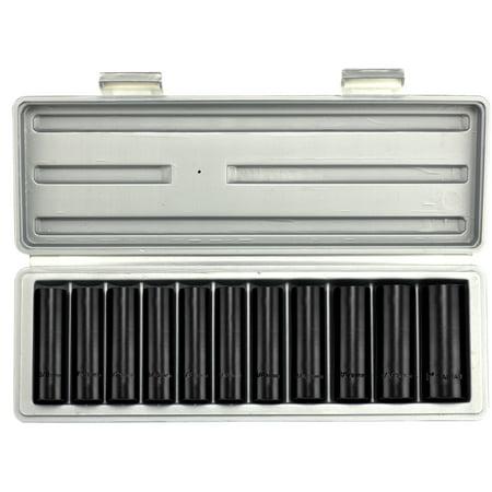 "Hiltex Deep Impact Sockets | 12pc SAE Set Standard 1/2"" Drive Air Carbon Steel w/ Case"