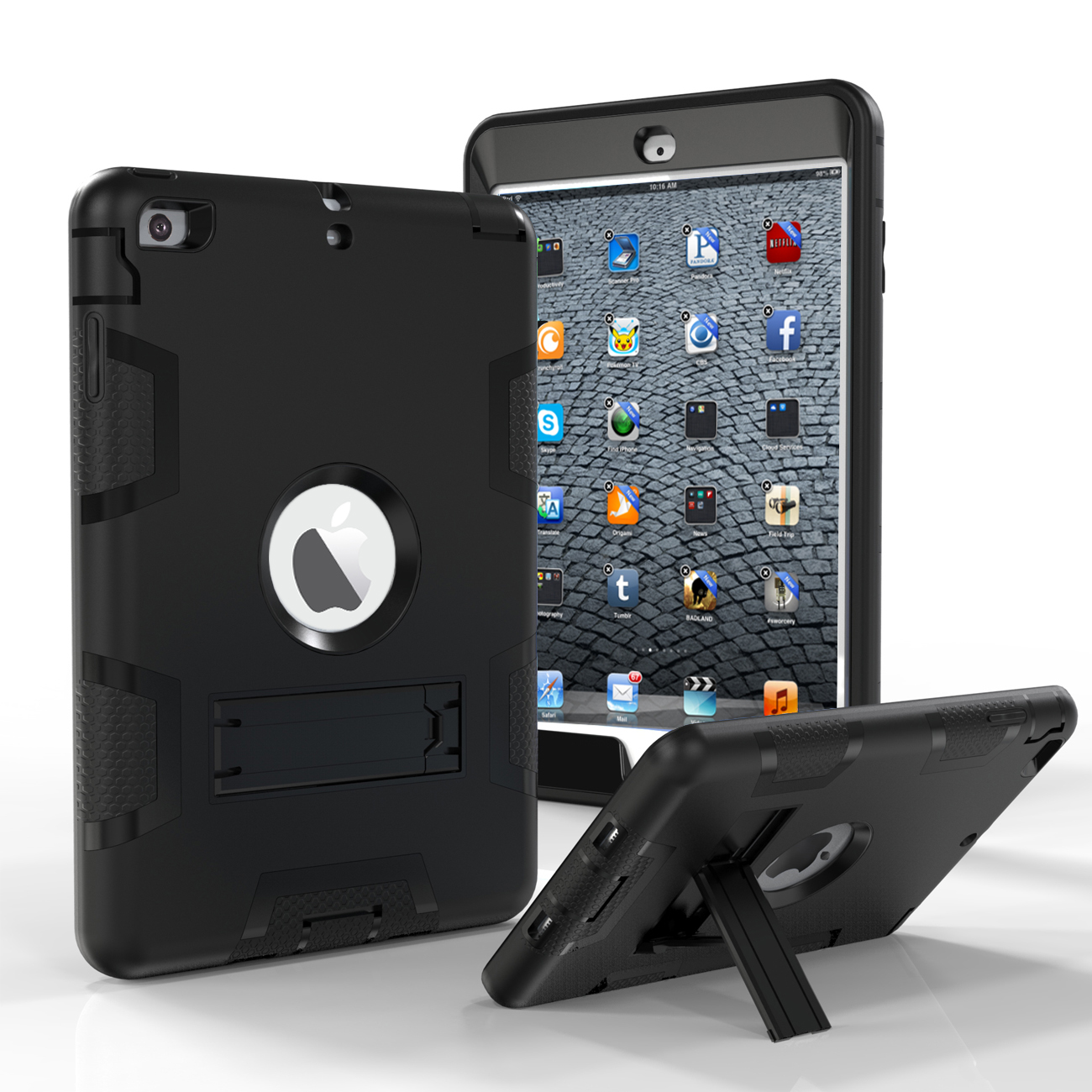 iPad Mini Case, iPad Mini 2 Case, iPad Mini 3 Case, Tekcoo [Troyal HY] Hybrid Shock Absorbing Defender Rugged Kickstand Silicone Hard Case Full Body Protective Cover For Apple iPad Mini 1/2/3