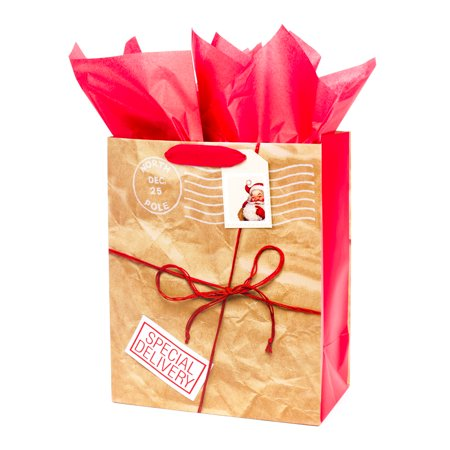 Hallmark Large Christmas Gift Bag with Tissue Paper (Stamp Tag) - Large Paper Bags