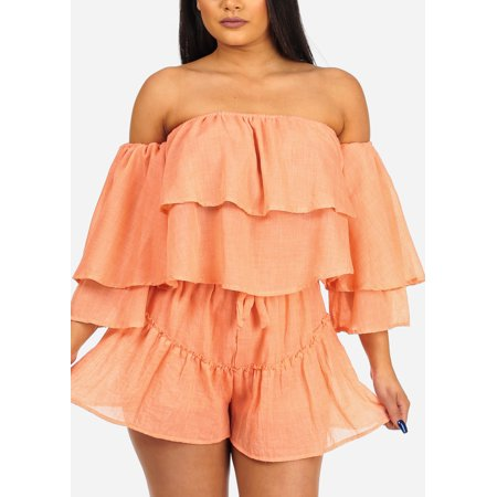 Womens Juniors Women's Junior Summer Beach Vacation Cute Sexy Lightweight Off Shoulder Crop Top And Drawstring Waist Line Orange Shorts