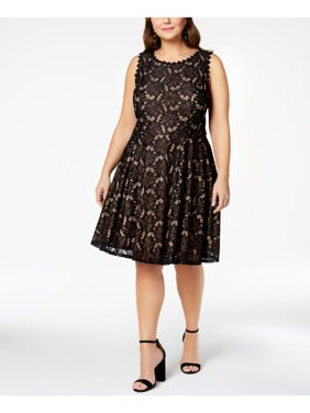 CITY STUDIO Womens Black Lace Sleeveless Jewel Neck Above The Knee Fit + Flare Cocktail Dress Juniors Size: 14