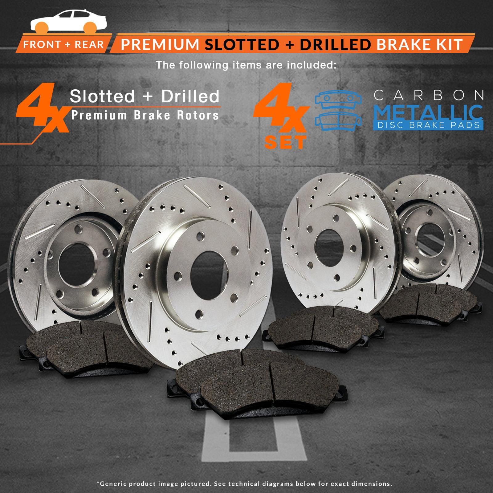 E-Coated Slotted Drilled Rotors + Ceramic Pads KT008183 Max Brakes Front /& Rear Elite Brake Kit Fits: 2006 06 2007 07 2008 08 Honda Civic EX//EX-L