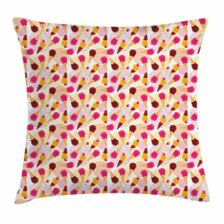 Ice Cream Throw Pillow Cushion Cover, Sweet Taste of Summer Theme Chocolate and Fruity Flavor Cherries Circle Sprinkles, Decorative Square Accent Pillow Case, 16 X 16 Inches, Multicolor, by Ambesonne - Sweet 16 Theme Ideas List