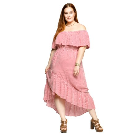 2c98c9fecd730 Xehar - Xehar Women's Plus Size Off Shoulder Stripe Faux Wrap Ruffle Detail  Long Maxi Dress - Walmart.com