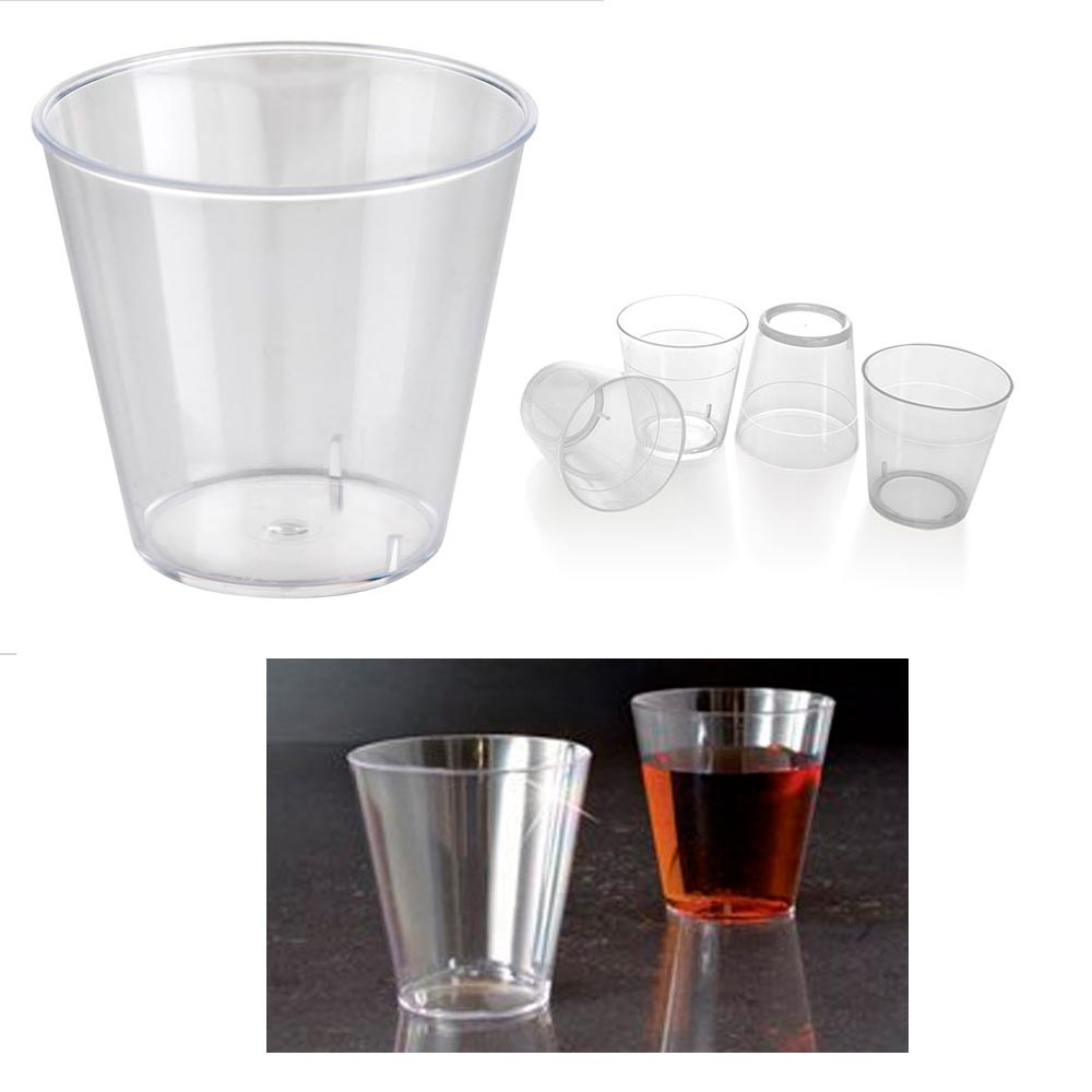 25 Clear Shot Glasses 2 oz Hard Plastic Disposable Cups Wine Party Catering Bar by PRIDE PRODUCTS