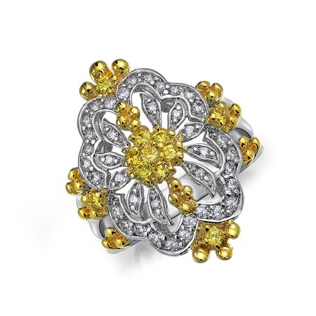 Antique Style Filigree Canary Yellow CZ Fashion Full Finger Armor Statement Ring For Women Silver Plated Brass ()