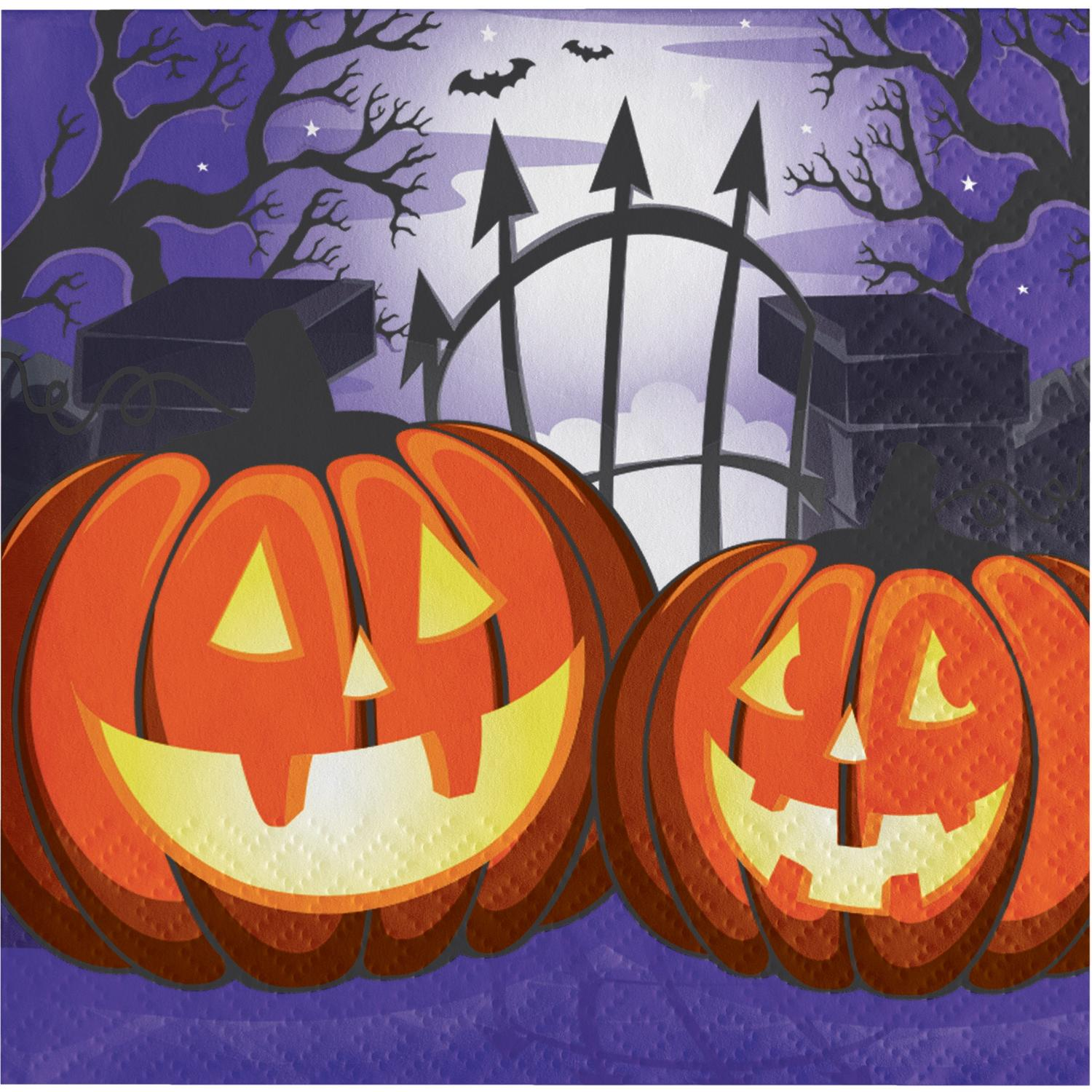 """Pack of 192 Purple and Orange Haunted House Disposable Party Beverage Napkins 5"""""""
