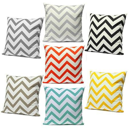 Ripple Chevron Zig Zag Wave Throw Pillow Cases Cushion Cover Durable Cotton Linen Fabric Vibrant Hidden Zipper Designs Pattern PillowCase for Living Room Sofa Couch Chair 18''x18''