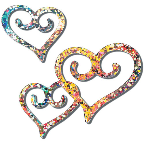 "Holographic Cutout Confetti, 4"" and 2"", 48-Pack, Silver Double Heart"