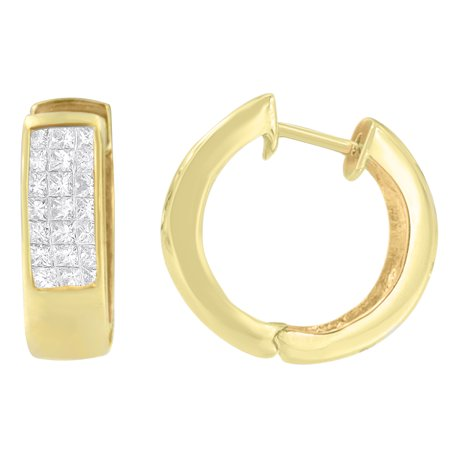 14kt Yellow Gold 1.07ct. TDW Princess and Round-cut Diamond Hoop Earrings (H-I,VS1-VS2) Vs1 Vs2 Earrings