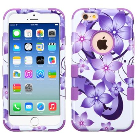 Insten Tuff Hibiscus Flowers Hard Hybrid Rubberized Silicone Cover Case For Apple iPhone 6/6s - Purple/White (Hibiscus Flowers For Sale)