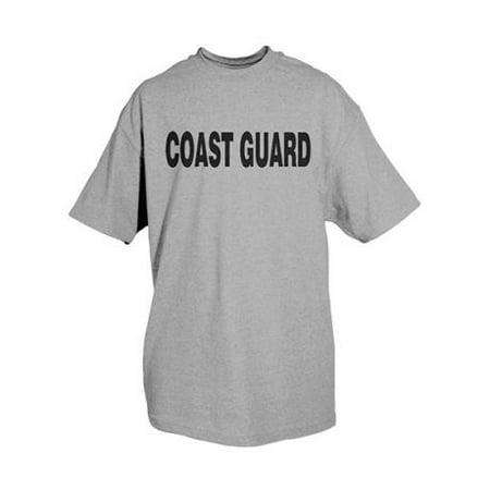 Mens Us Coast Guard - Fox Outdoor Physical Training Imprinted T-Shirt, Coast Guard / Heather Grey, Lar