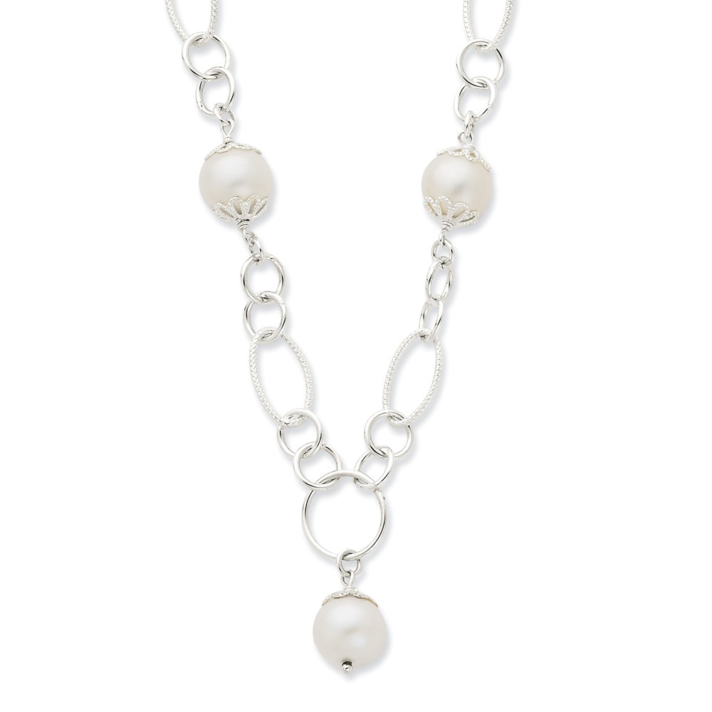 Sterling Silver & Simulated Pearl Fancy Polished Drop Necklace. 18in long.