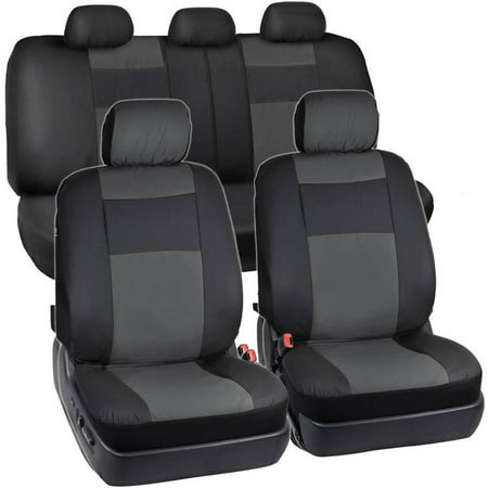 BDK 2-Tone PU Leather Car Seat Covers Split Bench Side Airbag Safe with 5