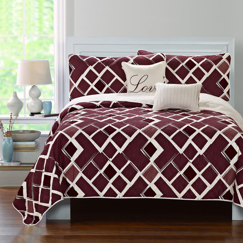 Luxury Home Merlot 5 Piece Quilt Set