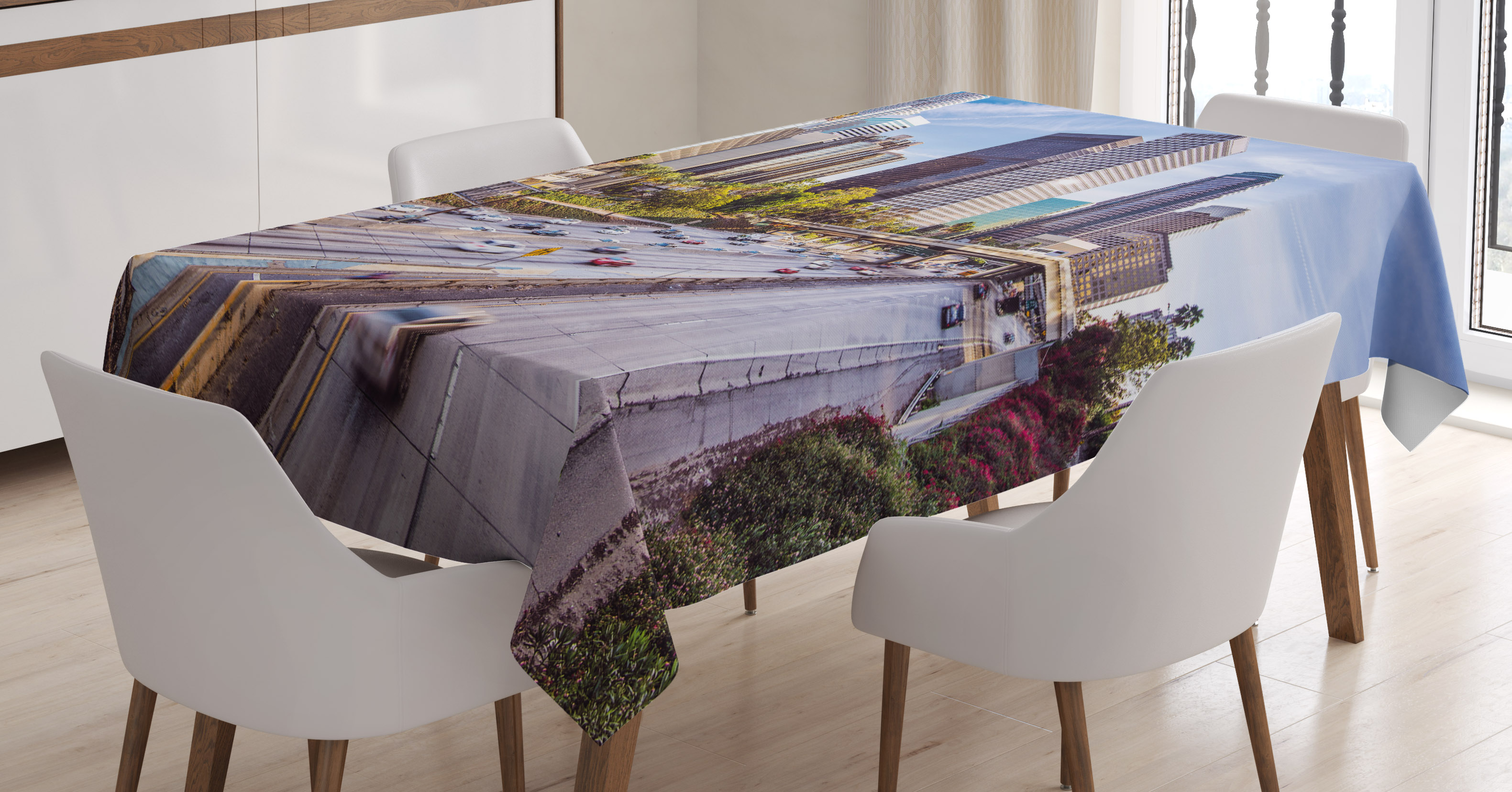 Charmant Travel Decor Tablecloth, Downtown Cityscape Of Los Angeles California USA  Avenue Buildings Palms, Rectangular