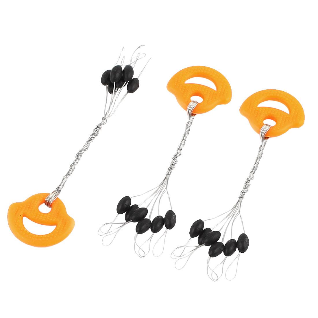 Unique Bargains 3 Pieces 6 in 1 Oval Design Stop Bead Black Fishing Bobber Stopper Size M