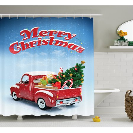 (Christmas Shower Curtain, Pickup Truck Filed with Ornament Cold December Weather Snowflakes Merry Christmas, Fabric Bathroom Set with Hooks, 69W X 75L Inches Long, Multicolor, by Ambesonne)
