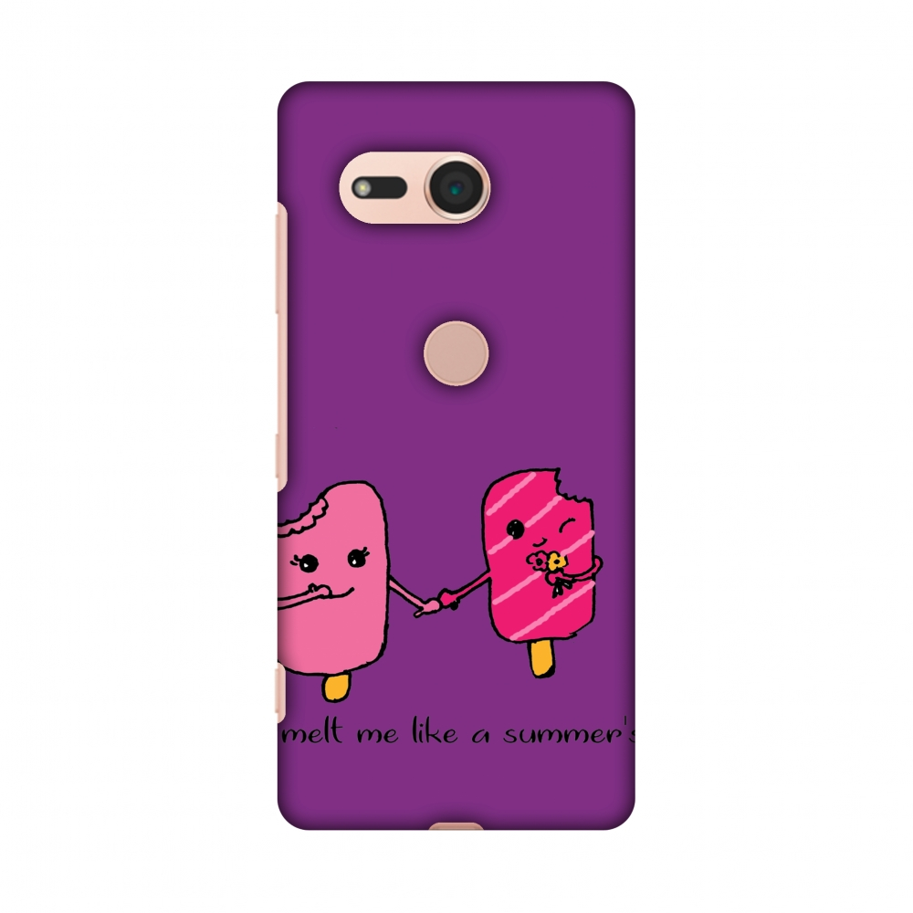 Sony Xperia XZ2 Compact Case - Ice Bar Couple- Purple, Hard Plastic Back Cover, Slim Profile Cute Printed Designer Snap on Case with Screen Cleaning Kit