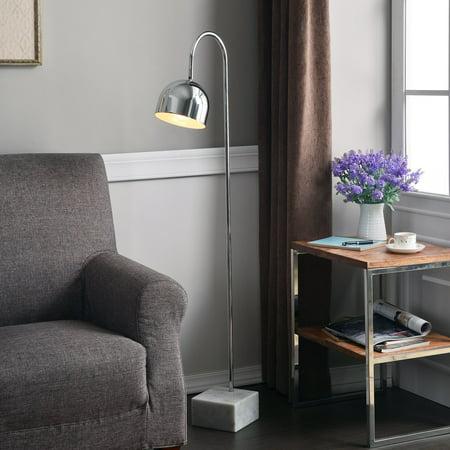 Kenroy Home Maverick Chromewith White Marble Base Floor Lamp