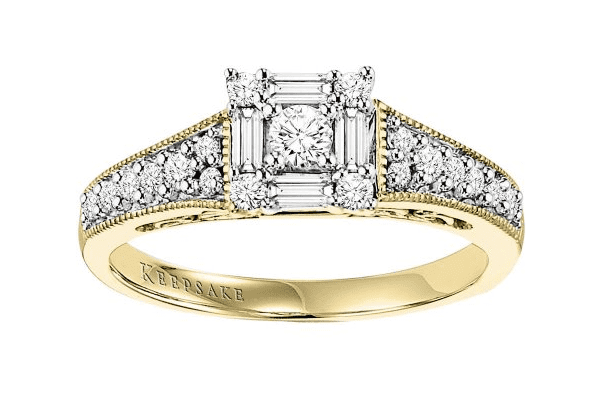 Keepsake Sincerity 1 2 Carat T.W. Certified Diamond 10kt Yellow Gold Engagement Ring by Frederick Goldman Inc.