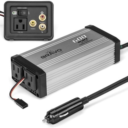 Bravo View Inv 600   600 Watt Power Inverter With Audio Video Gameplate