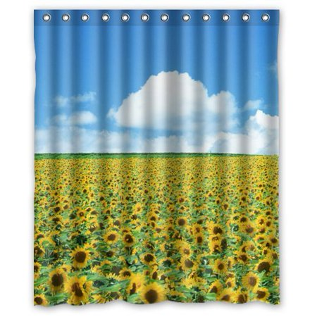 Ganma Sunflower Shower Curtain Polyester Fabric Bathroom 60x72 Inches