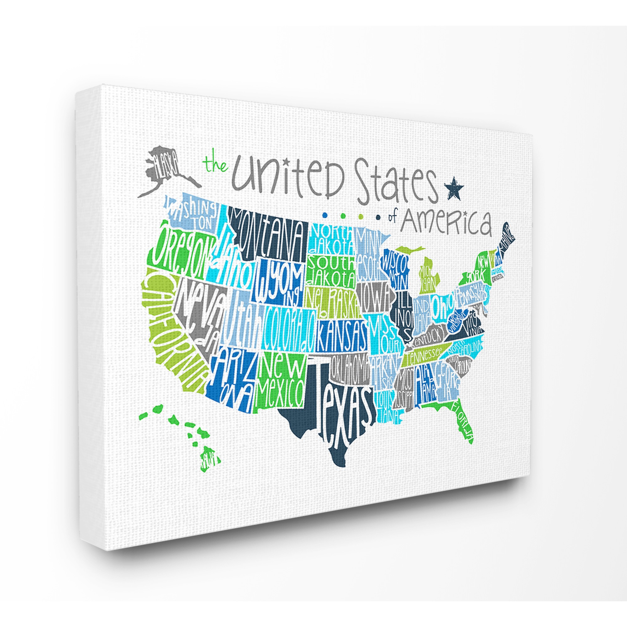 The Kids Room by Stupell United States Map Colored Typography Stretched Canvas Wall Art, 16 x 1.5 x 20