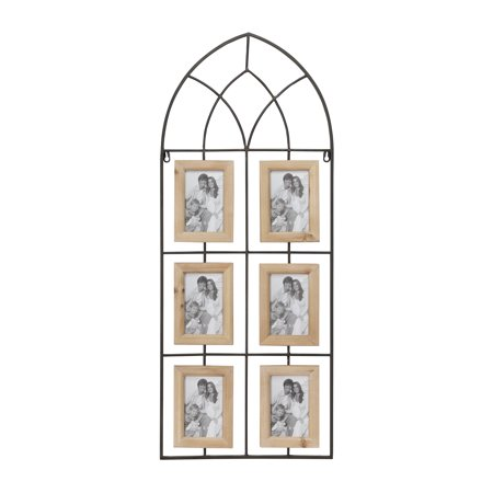 "Decmode 16"" x 39"" Wood & Metal Picture Frames Photo Display Wall Decor w/ Cathedral Frame & 6 Photo Holders"